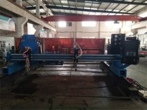 double drive gantry cnc plasma cutting machine for cutting solid steel / H beam production line